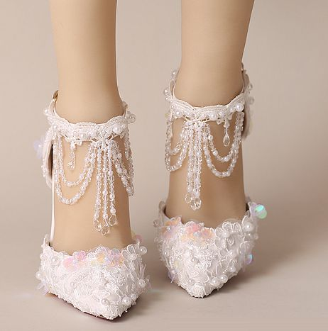 9CM thin heels crystal lace shoe woman white tassels ankle straps ladies female wedding party dance shoes summer spring TG692