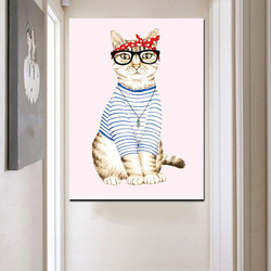 HD Print Abstract Cat Dress Up Cut Girl Animal Oil Painting on Canvas Pop Art Wall Picture For Living Room Sofa Cuadros Decor
