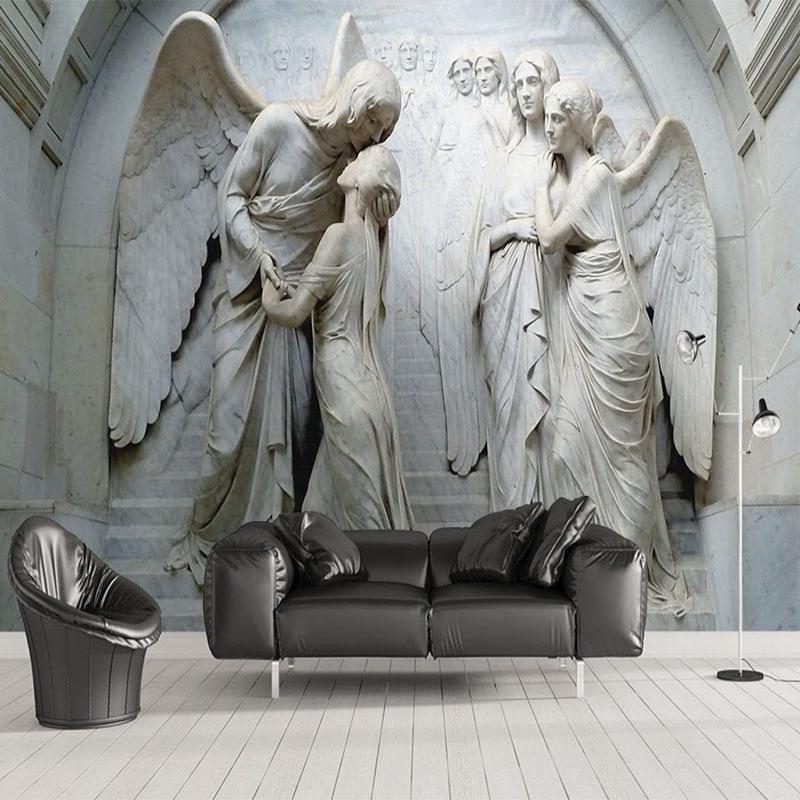 Custom Photo Wallpaper 3D Relief Angel Sculpture Mural Living Room TV Sofa Bedroom European Style Wall Paper For Wall 3 D Fresco