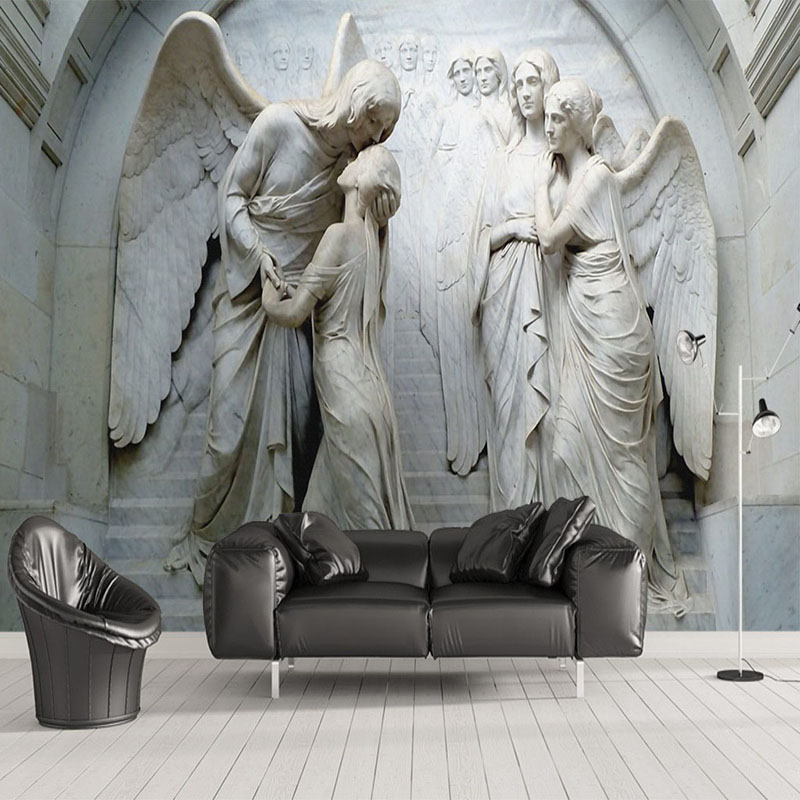 Custom Photo Wallpaper 3D Relief Angel Sculpture Mural Living Room TV Sofa Bedroom European Style Wall Paper For Wall 3 D Fresco