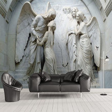 Custom Photo Wallpaper 3D Relief Angel Sculpture Mural Living Room TV Sofa Bedroom European Style Wall Paper For Wall 3 D Fresco(China)