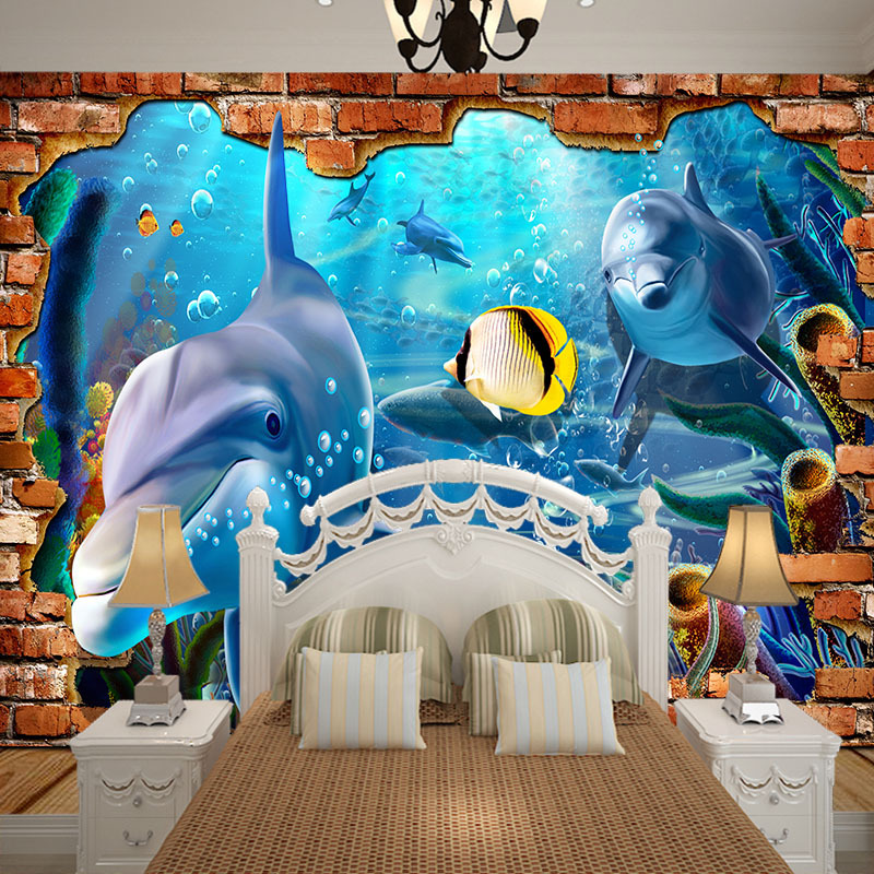2m width cute ocean world series wallpaper false brick 5D photo mural for home decor theme museum wall decoration in Wallpapers from Home Improvement