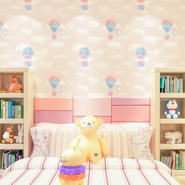 US $18.9 46% OFF|Pink, Blue air balloon Kids Wallpaper Children Room Wall  Paper white clouds Boy Girl Bedroom Wallpapers-in Wallpapers from Home ...