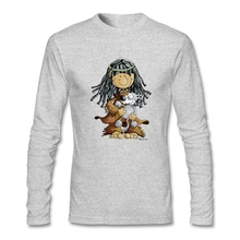 Natural 100% Cotton Little Indian Girl With A Grey Wolf Puppie Men's Full Sleeves cool tshirts Man  Crew-Neck Tee Shirts