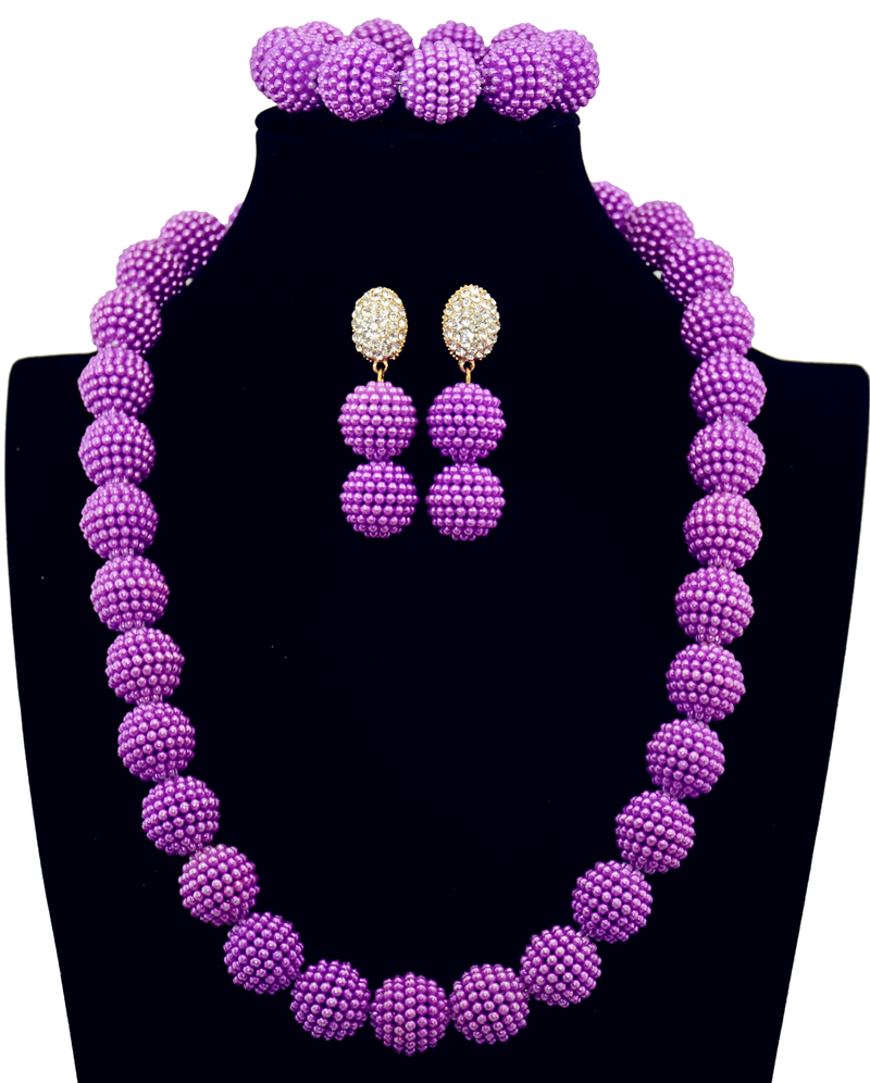 Imitation pearl long Purple Party Necklace Set Nigerian Wedding ...