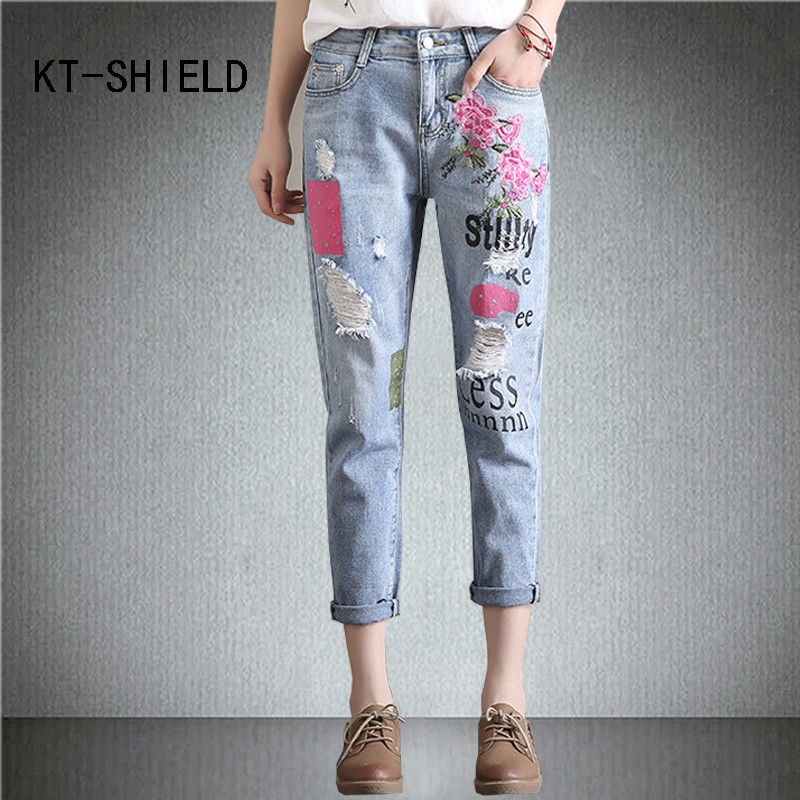 Womens with flowers embroidery Boyfriend ripped Jeans harem pants printing femme denim pantalones jeans mujer Stretch Trousers womens ripped jeans with embroidery summer 2017 ladies straight cotton denim casual pants pantalones vaqueros mujer garemay 2610