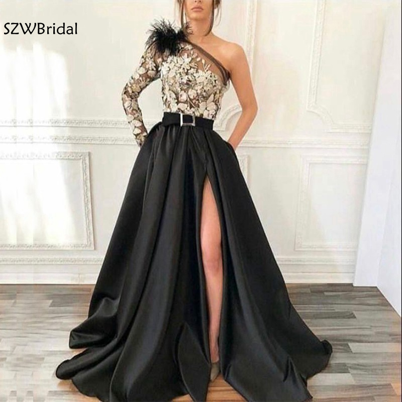 New Arrival Black Long sleeve   evening     dress   2019 Ivory Lace Appliques   evening   gown Sexy Slit side abiye Formal   dress   Party