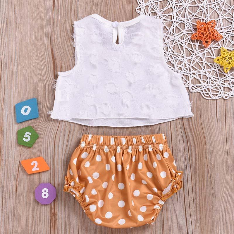 d80d301d38c7c 2PCS Set 2019 Summer Newborn Baby Girl Clothes Kids Cute Sleeveless Tassel  Crop Top Vest + Dot Shorts Bottom Outfit Suit