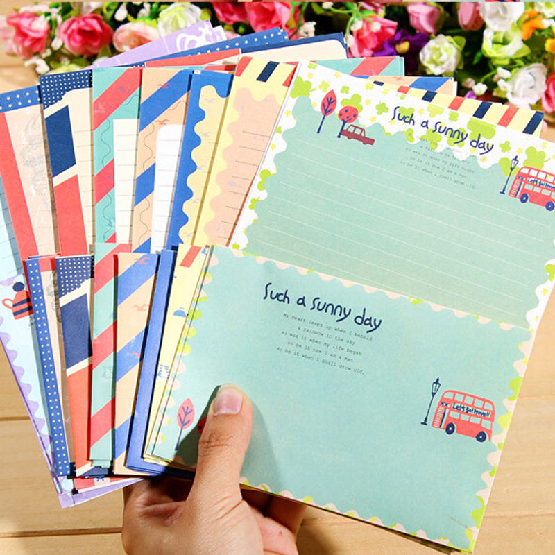 Executive College Stationery Note Cards: 4pcs/lot Vintage Navy Wind Paper Envelope+Writing Paper