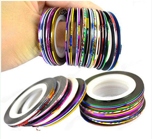 100Rolls X20 Metre Purple& Silver&Gold&Pink&Rose Colors(32COLORS)Striping Tape Creative Nail Art Extensions Tips Acrylic uv gel+