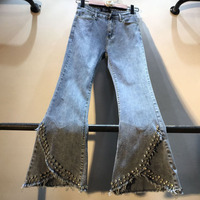 2019 summer new beaded women jeans embroidered flares solid split lady denim ankle length pants sexy night bottomings