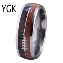 Classic Women Finger Jewelry New Fashion Ring Men Red Wood Koa Arrow Inlay Tungsten Rings Engagement Anniversary Gift