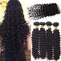 Brazilian Virgin Hair Deep Wave 4pcs Lace Closure with Bundles Hair Weave Brazilian Deep Wave Unprocessed Human Hair Extensions