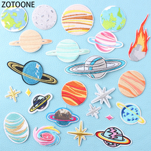 ZOTOONE Wild Planet Iron on Patches for Clothing Colorful Space Applications Kids Clothes Diy Decoration Appliques Child