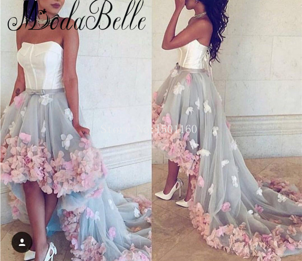 Arabic-Sexy-High-Low-3D-Flowers-Strapless-Elegant-Long-Evening-Prom-Dresses-With-Backless-Lace-Up_