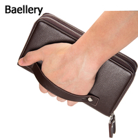 Baellerry 2016 Clutch Bag Men Wallets Black Brown Luxury Large Capacity Gift For Male Double Zipper