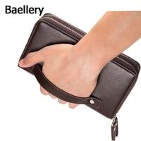 Baellerry 2016 سعة كبيرة مخلب حقيبة رجل محافظ السوداء البني الفاخرة هدية للذكور ضعف سحاب طويل محفظة حقيبة محفظة