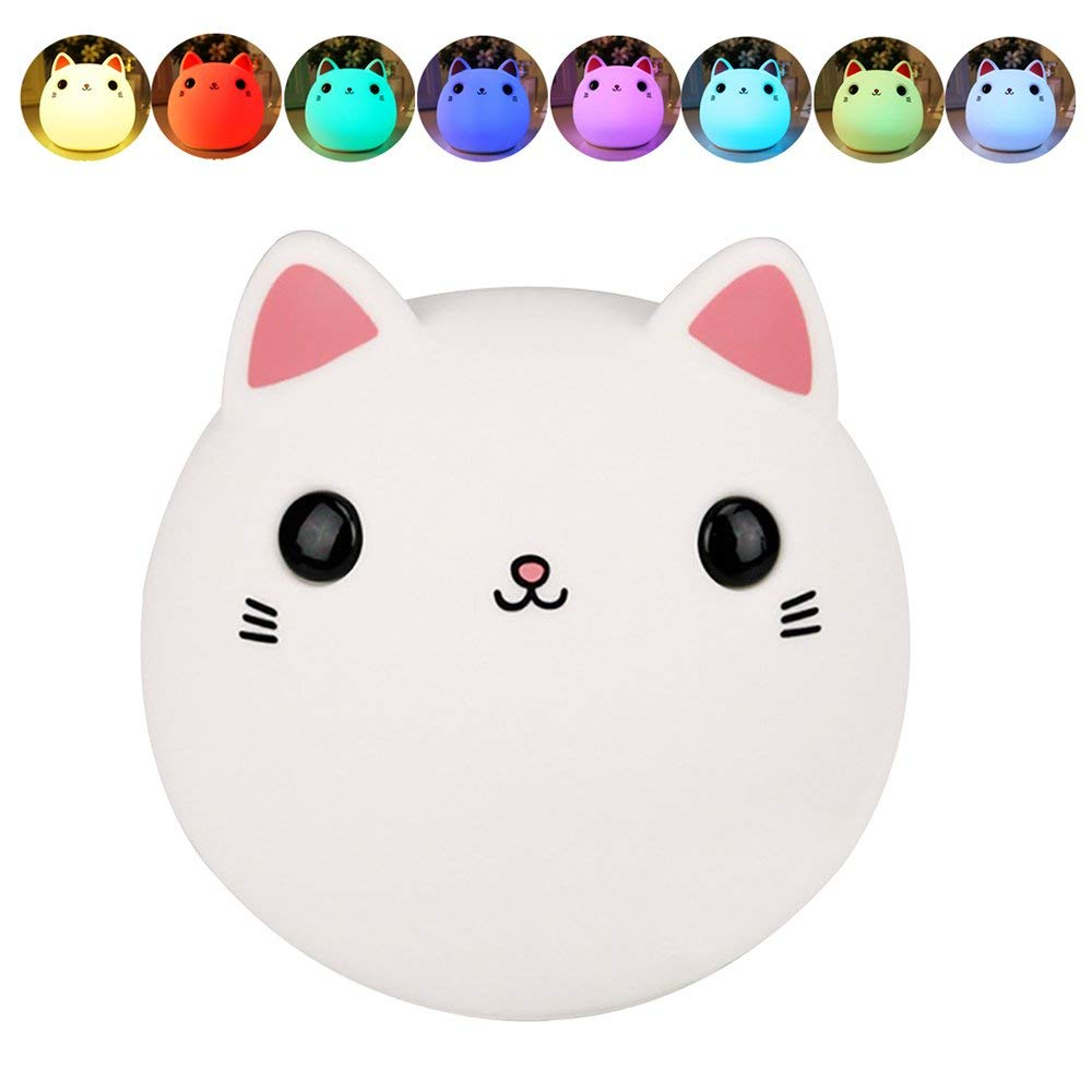 BB Speaker Night Light Silicone Lamp Cat Table Lamps Baby Led Silicone Lamp Usb Recharge Night Light For Children/Kids/Bedroom