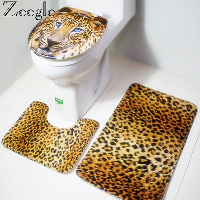 Zeegle Tiger Printed Anti Slip Toilet Carpet Bathroom Mat Flannel Toilet Mat for Three Sets of Bath Mat Water-absorbing Mat