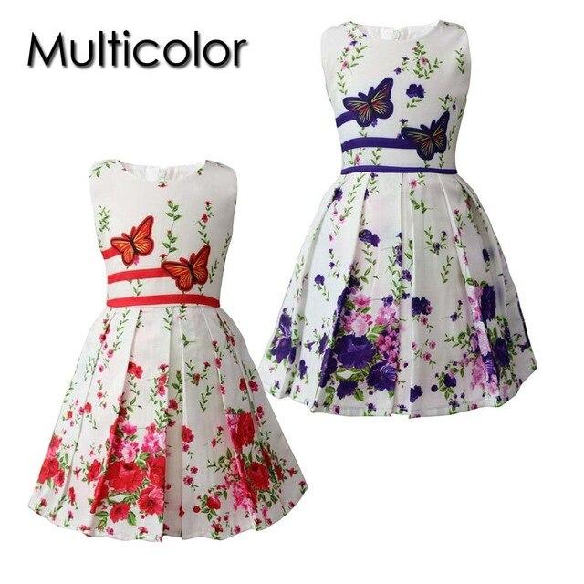 61aadbf1880b7 Multicolor Summer Girls Dress for Children Flower Butterfly Princess Dress  Birthday Girl Pastoral Print Sleeveless Comfortable