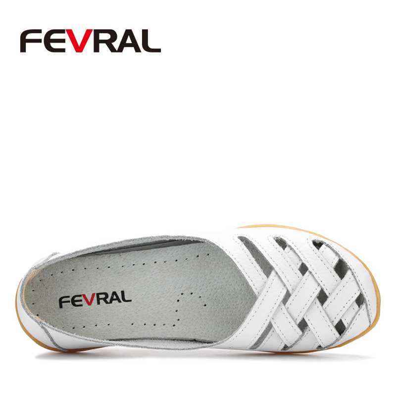 FEVRAL Woman's Shoes Cow Leather Flat With Superstar Big Size 35-42 Oxford Shoes Women Loafers 2019 Casual Shoe Summer Shoes
