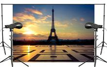 150x220cm Beautiful Famous French Landmarks in the evening Photography Background Eiffel Tower Backdrop Wedding Landscape last man in tower