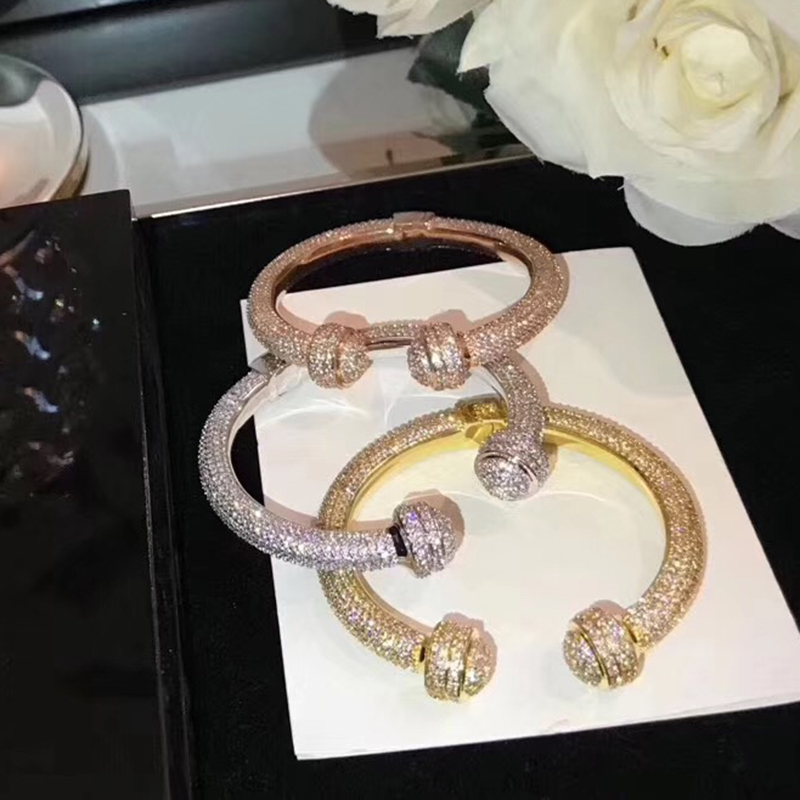 2018 Brand Fashion Party Jewelry For Women Wedding Bangle Full Stone Ball Design Jewelry Gold Color