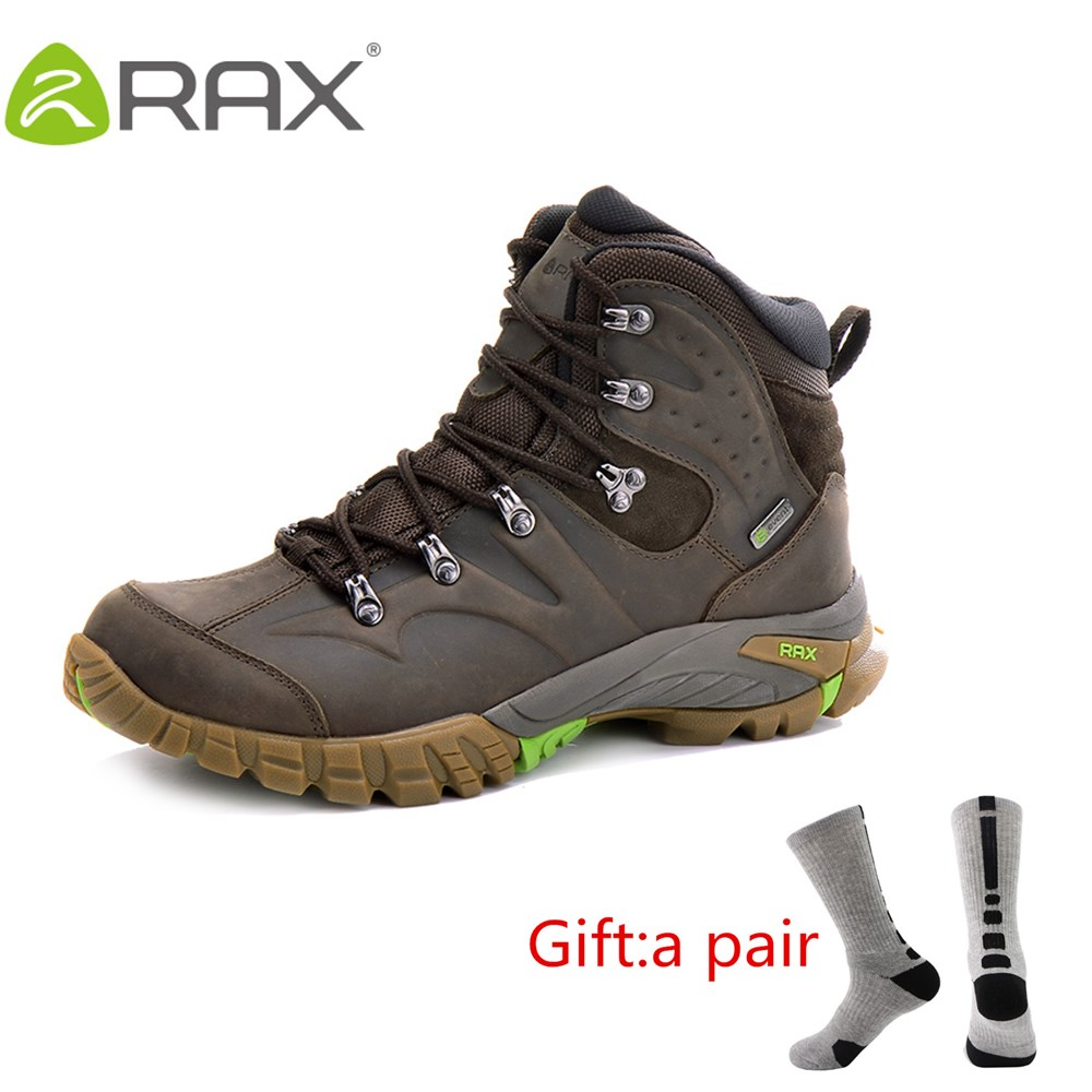 RAX Men Women Professional Waterproof Leather Hiking Shoes Boots Outdoor Climbing Boots for Mountain Camping in Cold With gift blog flashlight outdoor 5led pocket strong waterproof 8 hours to illuminate mountain climbing camping p004