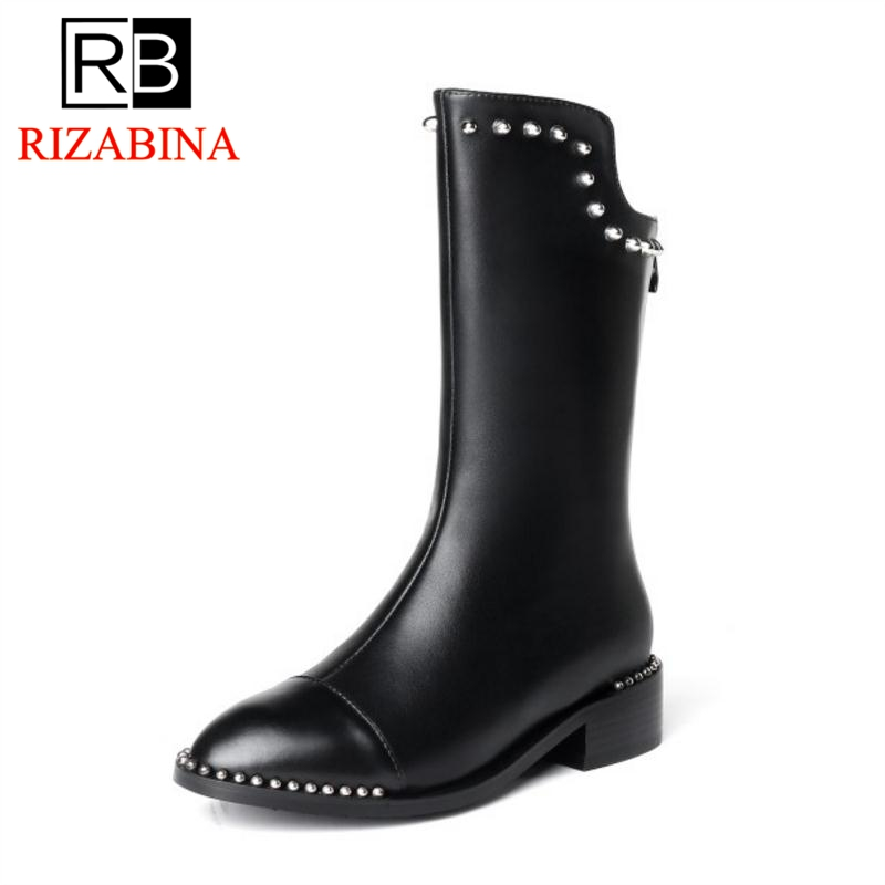 RizaBina Women Winter Flats Boots Genuine Leather Shoes Woman Zipper Mid Calf Boots Rivets Luxury Designer Shoes Size 34-40 rizabina concise women sneakers lady white shoes female butterfly cross strap flats shoes embroidery women footwear size 36 40