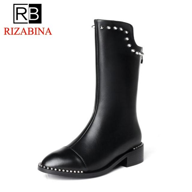 RizaBina Women Winter Flats Boots Genuine Leather Shoes Woman Zipper Mid Calf Boots Rivets Luxury Designer Shoes Size 34-40