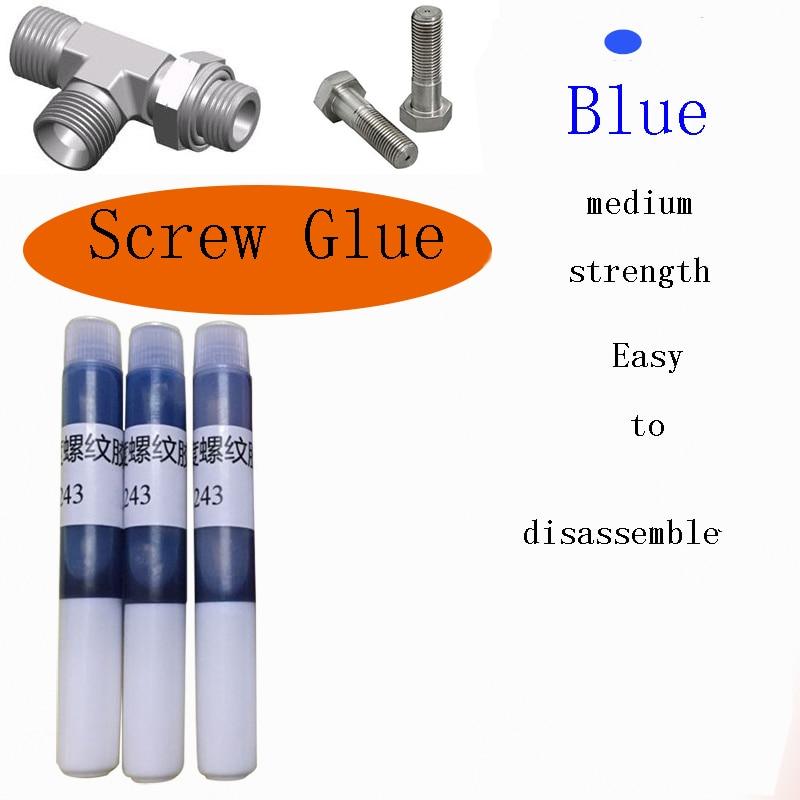 2Pcs Anaerobic 243 Screws Blue Liquid Glue Fixed Prevent Screws Shock Rust Loose Corrosion Rust Fixed Screw For Office Home 2G