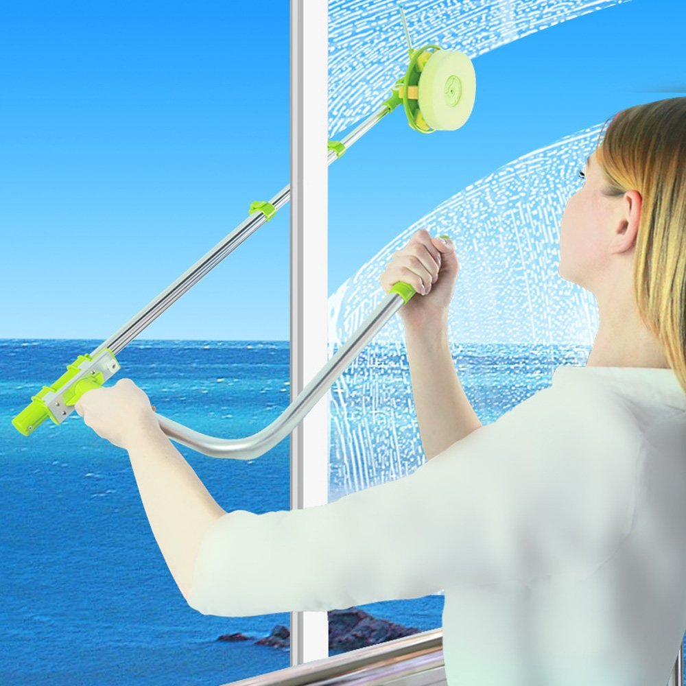 Telescopic Window Cleaner Double Faced Gl Cleaning Kit Extending Wash Head With Pole Free Squeegees And 3 Pieces Of Sponges In Brushes From Home
