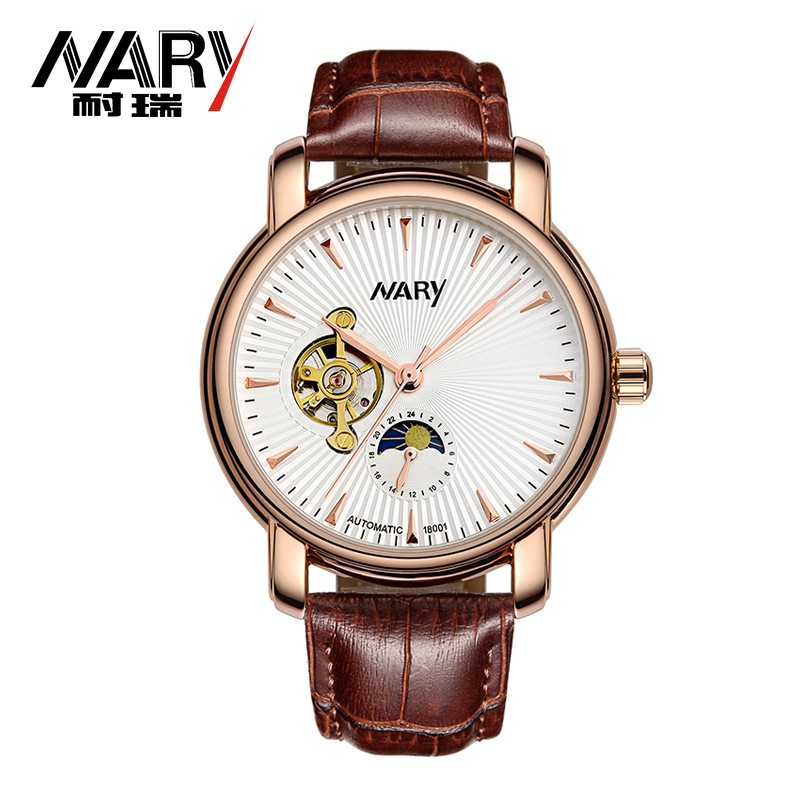 2017 Fashion Nary Casual Antique See Through Fashion Dial Skeleton Mans Business Watch Men Leather Automatic Watch Gifts Relojes tian wang leather strap automatic mechanical watch for business casual men with ss see through case back gs5789s d