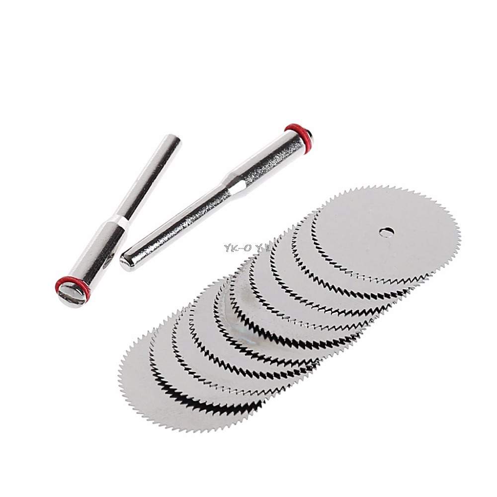 10 X 32mm Wood Saw Blade Disc + 2 X Rod Dremel Rotary Cutting Tool