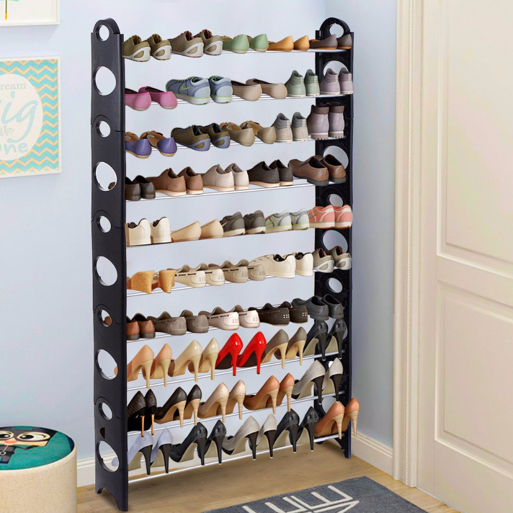 Goplus Adjustable 30 Pair Diy 2 4 6 8 10 Layer Shoe Rack