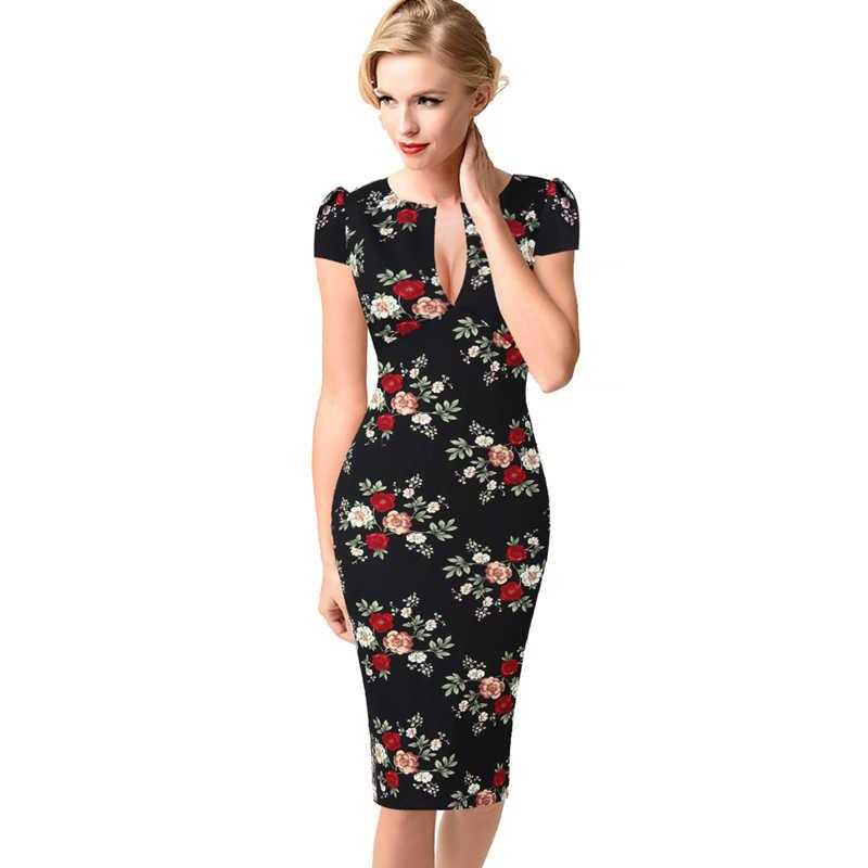 Vfemage Женская Сексуальная элегантная Осенняя Цветочная кружевная винтажная Туника приталенные Повседневные Вечерние облегающие платья-карандаш 1040