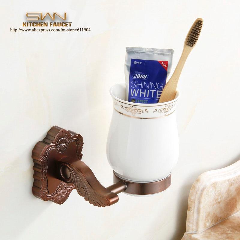 Redwood Color Dual Toothbrush Glass Cup Holder  Bathroom Hardware 3AF2111 allen roth brinkley handsome oil rubbed bronze metal toothbrush holder