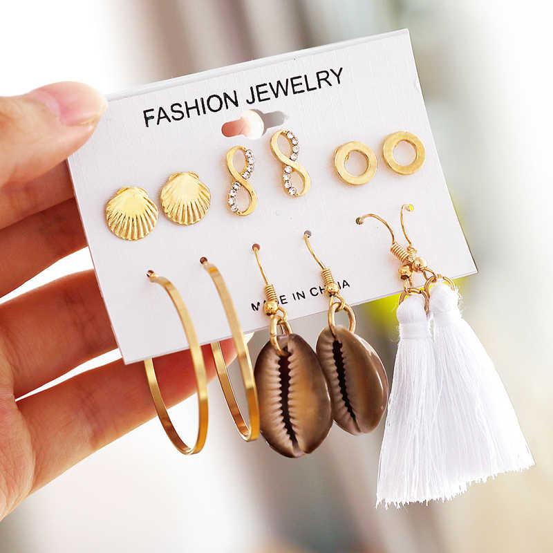 Trendy Long Tassel Earrings Sets Seashell Heart Star Earrings Simulated Pearl Crystal Drop Earrings Fashion Fringe Brincos