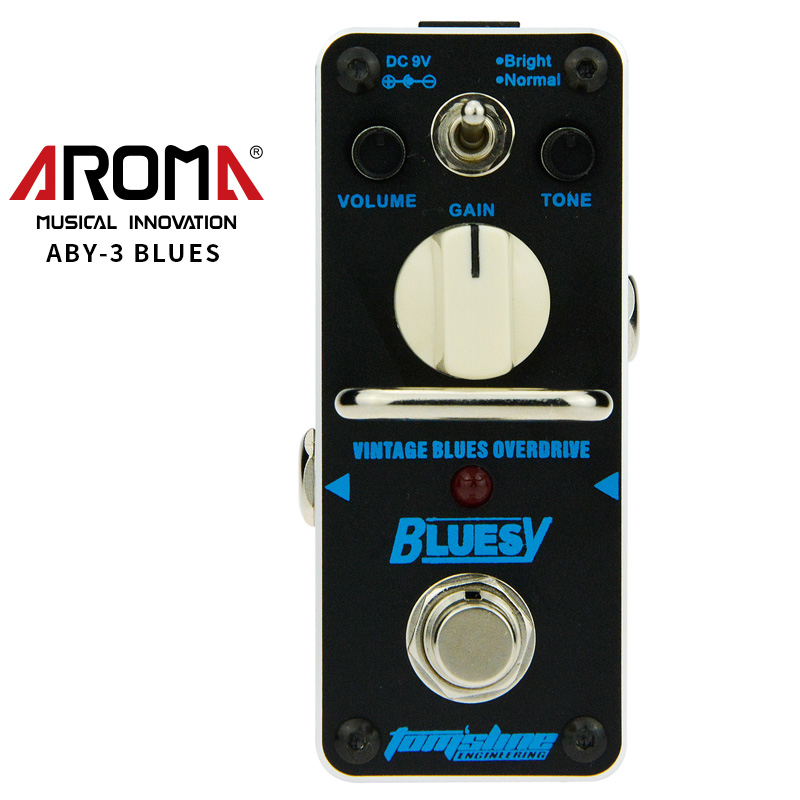 AROMA ABY-3 Guitar Effect Pedal Bluesy Vintage Blues Overdrive Mini Single Electric Guitar Effect Pedal with True Bypass amo 3 mario bit crusher electric guitar effect pedal aroma mini digital pedals full metal shell with true bypass