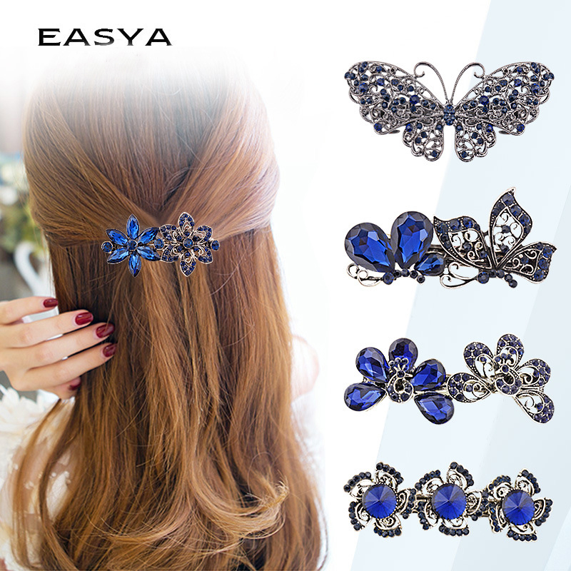 EASYA Vintage Metal Hair Barrettes For Women Girls Crystal Rhinestone Flower Butterfly Hair Pin Clips Hair Accessories   Headwear