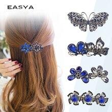 EASYA Vintage Metal Hair Barrettes For Women Girls Crystal Rhinestone Flower Butterfly Pin Clips Accessories Headwear