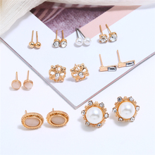 L&H 9Pairs/Set Simple Gold Stud Earrings Set Fashion Elegant Pearl Rhinestone For Women Round/Oval in Jewelry