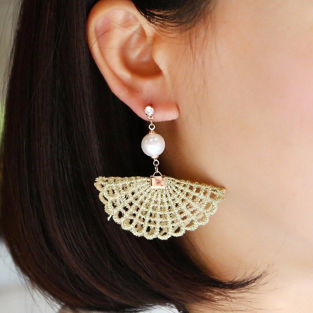 shuyani ethnic fabric geometric earrings fashion gold color fan shape dangle ear
