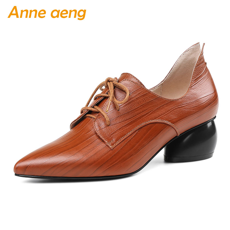 2018 New Autumn/Spring Genuine Leather Women Pumps Middle Heels Pointed Toe Lace-Up Fashion Sexy Ladies Women Shoes Black Pumps odetina 2017 new designer lace up ballerina flats fashion women spring pointed toe shoes ladies cross straps soft flats non slip