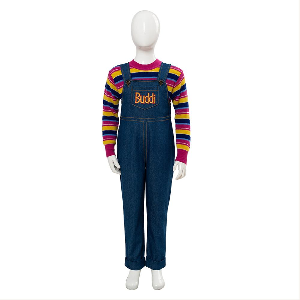 Child s Play Cosplay Chucky Costume Charles Lee Ray Buddi Doll Full Set Outfit for Kids