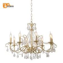 Kryształ w europejskim stylu żyrandole nowoczesne oświetlenie do salonu jadalnia złota kristallen kroonluchter oprawy oświetlenia LED