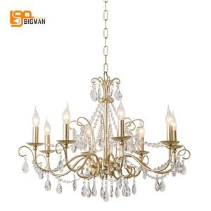 Image 1 - Lustres de cristal estilo europeu iluminação moderna para sala estar jantar ouro kristallen kroonluchter led luminárias