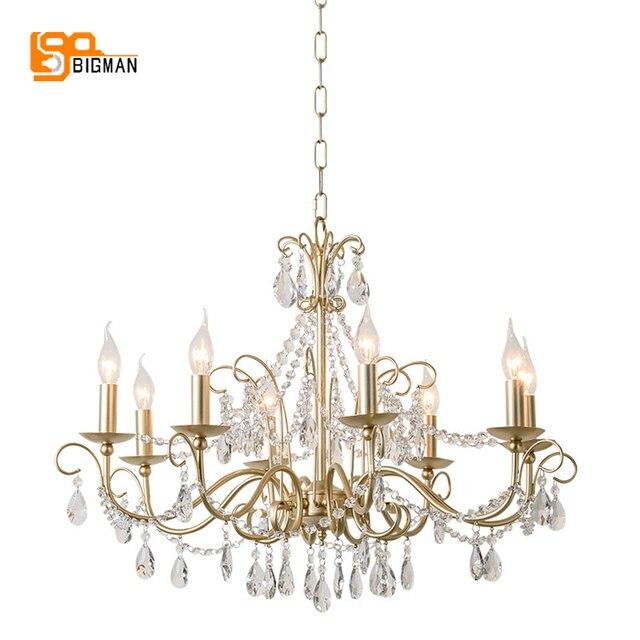 Lustres de cristal estilo europeu iluminação moderna para sala estar jantar ouro kristallen kroonluchter led luminárias