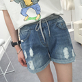 2016 shorts jeans women large size denim shorts female summer pants  Light blue elastic waist ripped jeans for women XL 5XL