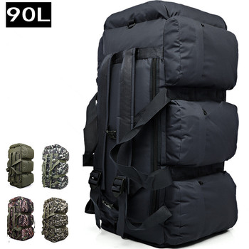 90L large capacity men outdoor hiking climbing fishing tents luggage shoulder hand bag army military camouflage handbag backpack